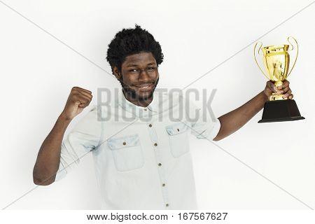 African Man Won Prize Reward Award Concept