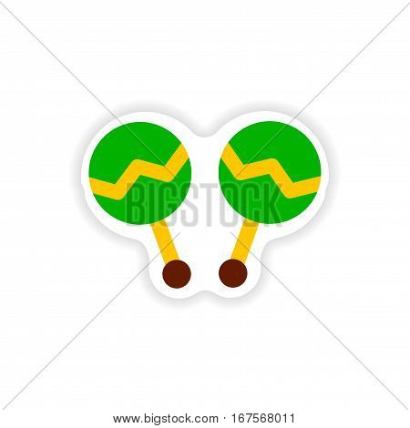 stylish paper sticker on white background maracas