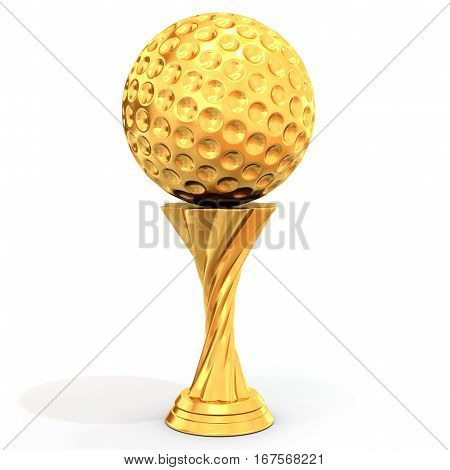 Golden Trophy With Golf Ball