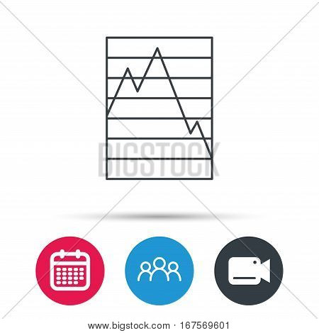 Chart curve icon. Graph diagram sign. Demand reduction symbol. Group of people, video cam and calendar icons. Vector