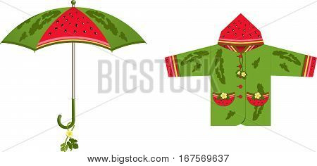 A set of clothes and accessories for rainy weather - umbrella raincoat jacket c decorative inserts watermelon theme