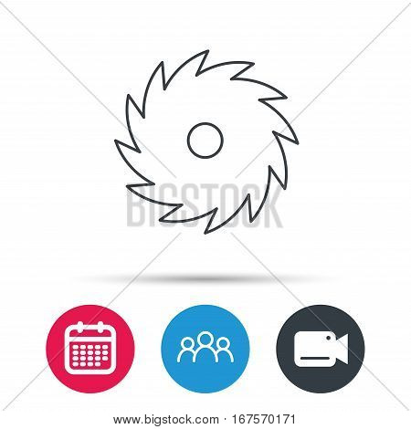 Circular saw icon. Cutting disk sign. Woodworking sawblade symbol. Group of people, video cam and calendar icons. Vector