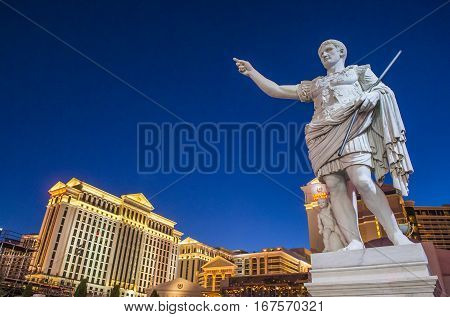 LAS VEGAS - OCT 05 : The Caesars Palace hotel and casino on October 05 2016 in Las Vegas. Caesars Palace is a luxury hotel and casino located on the Las Vegas Strip. Caesars has 3348 rooms in five towers