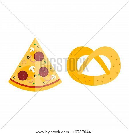 Pizza flat slice pretzel isolated on white background. Cheese food silhouette restaurant menu illustration. Pepperoni italian delicious hot lunch meal with mozzarella.