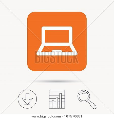 Computer icon. Notebook or laptop pc symbol. Report chart, download and magnifier search signs. Orange square button with web icon. Vector