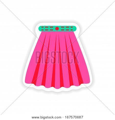 stylish paper sticker on white background skirt