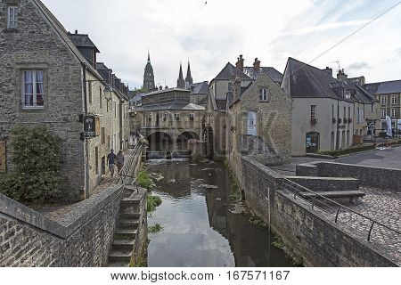 Water Mill And Aure River In The Old City Of Bayeux