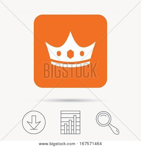 Crown icon. Royal throne leader symbol. Report chart, download and magnifier search signs. Orange square button with web icon. Vector