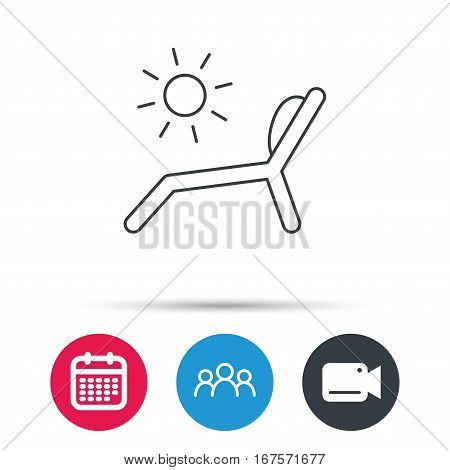 Deck chair icon. Beach chaise longue sign. Group of people, video cam and calendar icons. Vector