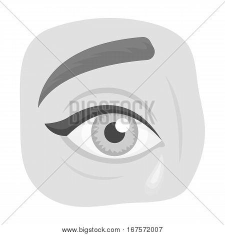 Weepping icon in monochrome design isolated on white background. Funeral ceremony symbol stock vector illustration.