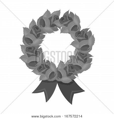Funeral wreath icon in monochrome design isolated on white background. Funeral ceremony symbol stock vector illustration.