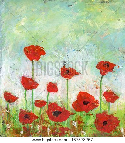 Acrylic painting of an abstract poppies field.