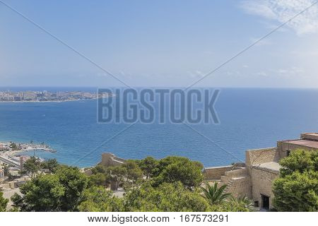 view of mediterranem sea from the rampart of the castle of Santa Barbara in alicante spain