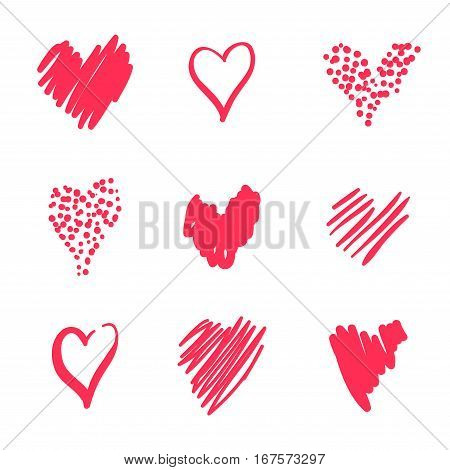 Set hearts drawn by hand in a careless style. Romantic collection. For the holiday of lovers, Valentine's day, wedding invitations, and other. Red hearts on white background.