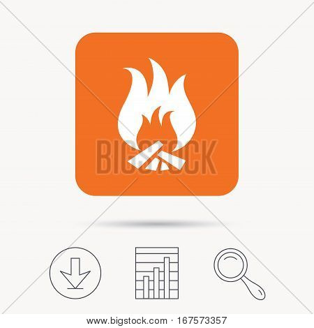 Fire icon. Blazing bonfire flame symbol. Report chart, download and magnifier search signs. Orange square button with web icon. Vector