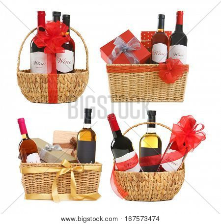 Set of wine gifts with festive decor on white background