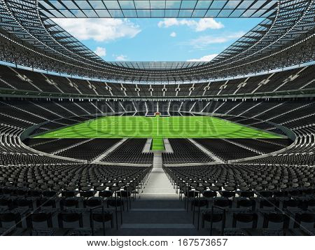 3D Render Of A Round Football -  Soccer Stadium With  Black Seats And Vip Boxes