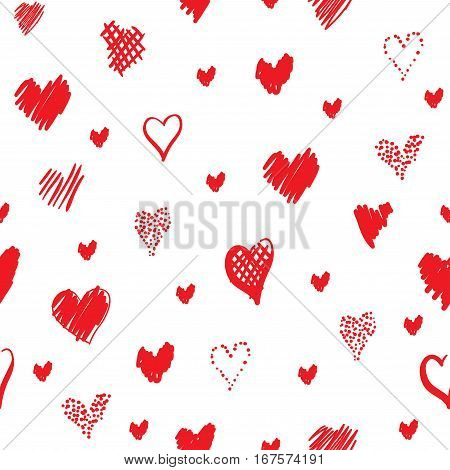 Romantic pattern with hearts. Elements hand-drawn style sketch. Perfect for holidays decoration Valentine's day, packaging, print on fabrics and other. Red hearts on white background