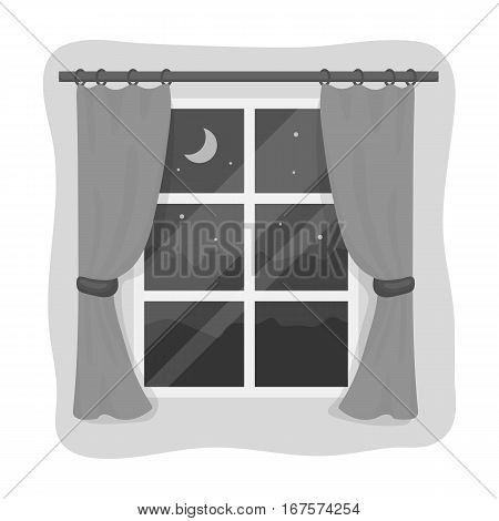 Night out the window icon in monochrome design isolated on white background. Sleep and rest symbol stock vector illustration.