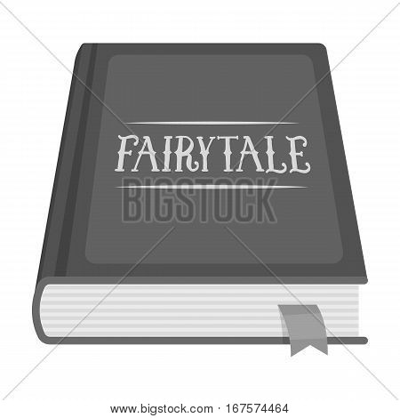 Book with fairytales icon in monochrome design isolated on white background. Sleep and rest symbol stock vector illustration.
