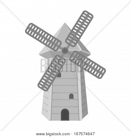 Spanish mill icon in monochrome design isolated on white background. Spain country symbol stock vector illustration.