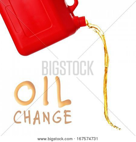 Plastic canister and oil splash on white background