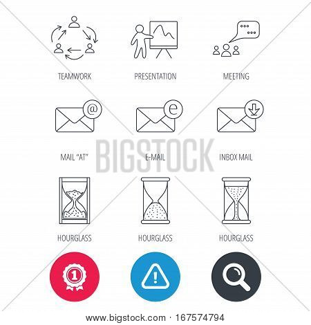 Achievement and search magnifier signs. Teamwork, presentation and meeting chat bubbles icons. E-mail inbox, hourglass linear signs. Hazard attention icon. Vector