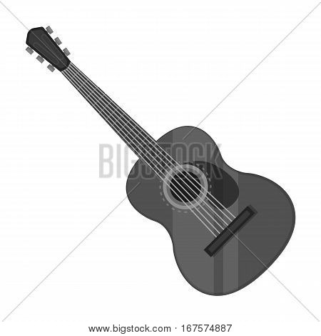 Spanish acoustic guitar icon in monochrome design isolated on white background. Spain country symbol stock vector illustration.