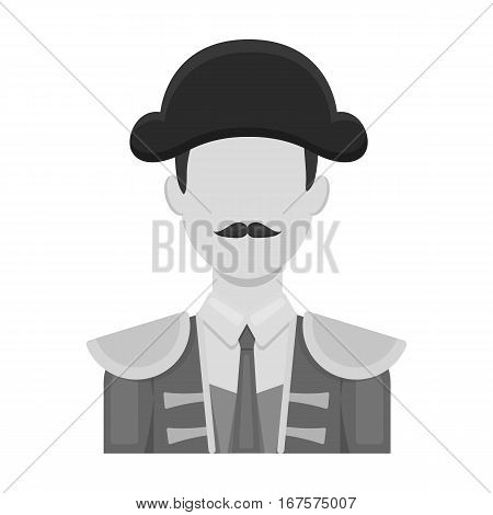 Matador icon in monochrome design isolated on white background. Spain country symbol stock vector illustration.