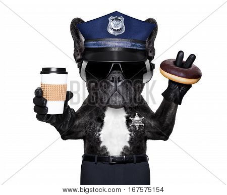 POLICE DOG ON DUTY WITH stop sign and hand isolated on white blank background having a meal break with donut and coffee
