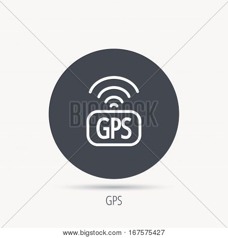 GPS navigation icon. Map positioning sign. Wireless signal symbol. Round web button with flat icon. Vector