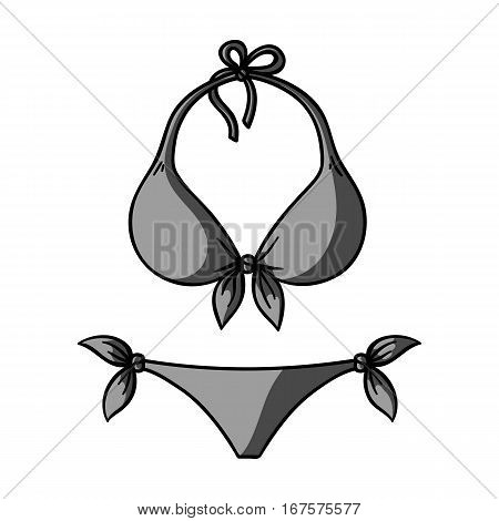 Bikini icon in monochrome design isolated on white background. Surfing symbol stock vector illustration.