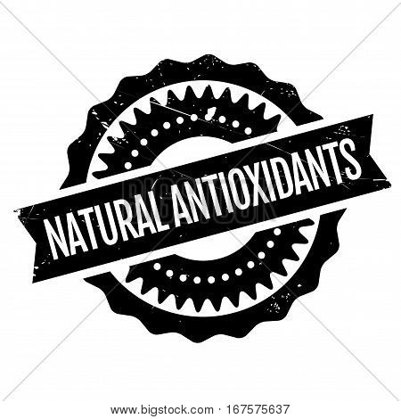 Natural antioxidants stamp. Grunge design with dust scratches. Effects can be easily removed for a clean, crisp look. Color is easily changed.