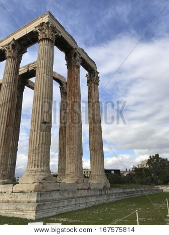 The Temple of Olympian Zeus in Athens, Greece