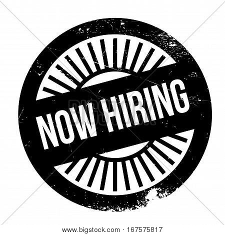 Now hiring stamp. Grunge design with dust scratches. Effects can be easily removed for a clean, crisp look. Color is easily changed.