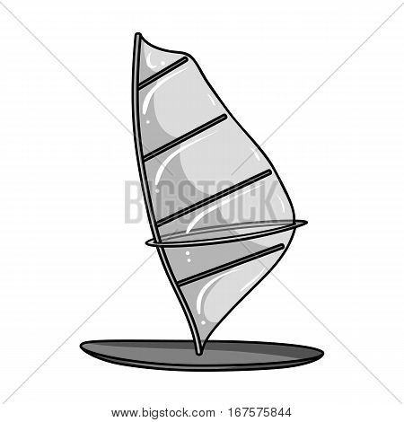 Windsurf board icon in monochrome design isolated on white background. Surfing symbol stock vector illustration.