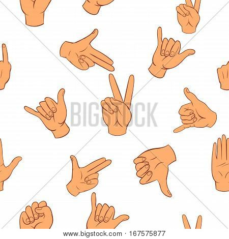 Gesture pattern. Cartoon illustration of gesture vector pattern for web