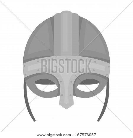 Viking helmet icon in monochrome design isolated on white background. Vikings symbol stock vector illustration.