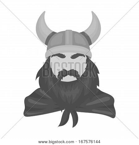 Viking icon in monochrome design isolated on white background. Vikings symbol stock vector illustration.