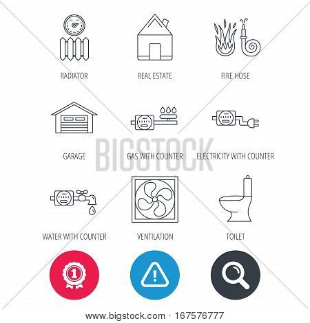 Achievement and search magnifier signs. Ventilation, garage and heat radiator icons. Gas, water and electricity counter linear signs. Real estate, toilet and fire hose icons. Hazard attention icon
