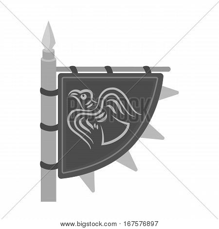 Viking s flag icon in monochrome design isolated on white background. Vikings symbol stock vector illustration.
