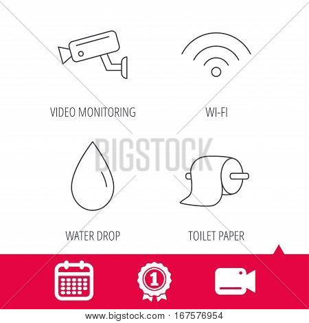 Achievement and video cam signs. Wi-fi, video monitoring and water drop icons. Toilet paper linear sign. Calendar icon. Vector