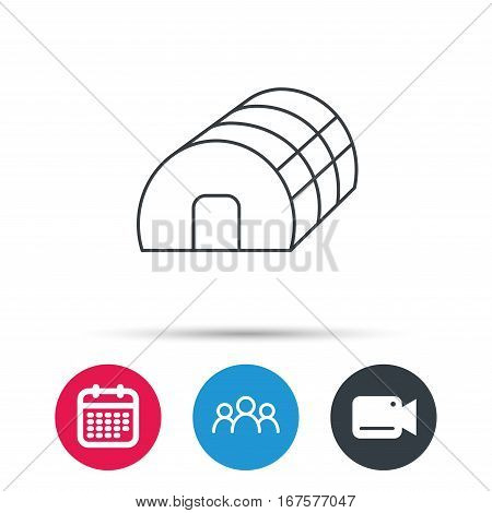 Greenhouse complex icon. Hothouse building sign. Warm house symbol. Group of people, video cam and calendar icons. Vector