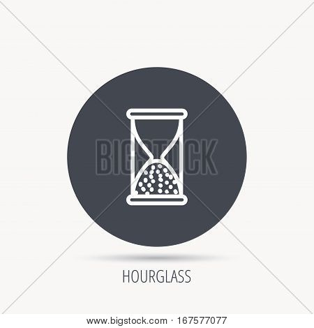 Hourglass icon. Sand end time sign. Hour ends symbol. Round web button with flat icon. Vector
