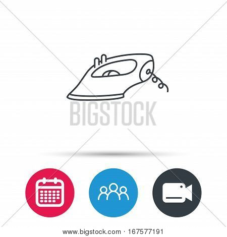 Iron icon. Ironing housework sign. Laundry service symbol. Group of people, video cam and calendar icons. Vector
