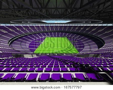 3D Render Of A Round Football -  Soccer Stadium With  Purple Seats And Vip Boxes