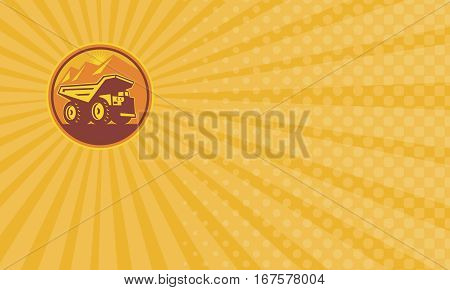Business card showing Illustration of a mining dump dumper truck lorry viewed from side set inside circle done in retro style on isolated background.