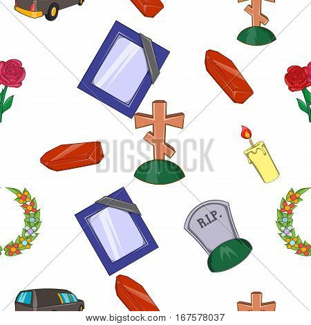 Burial pattern. Cartoon illustration of burial items vector pattern for web