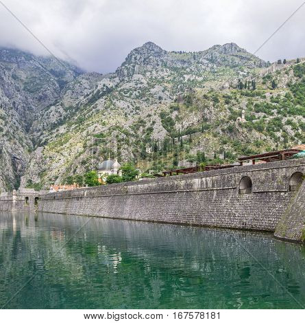 KOTOR, MONTENEGRO - August 03, 2014: Panorama of the wall of the fortress around the town of Kotor, Montenegro.