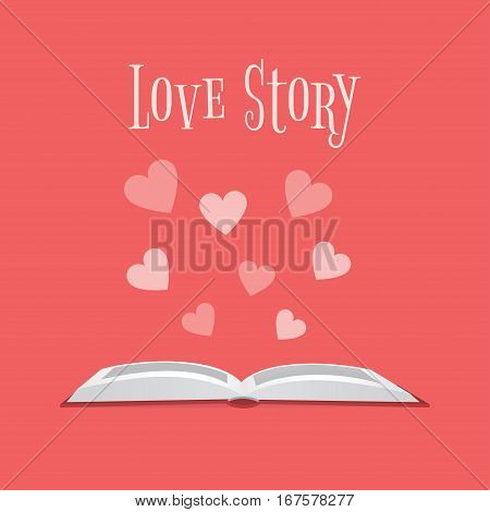 Vector illustration of an open book and hearts above it with text